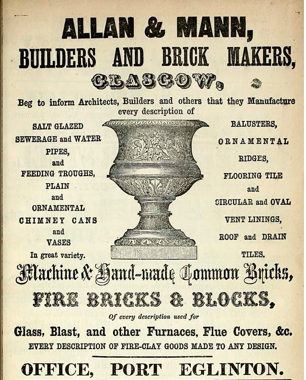 1861 Advert Allan & Mann Glasgow