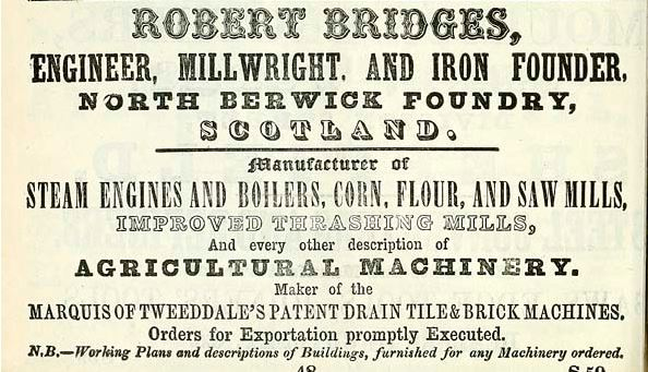 1861 advert Robert Bridges Engineer, North Berwick Marquis of Tweeddale