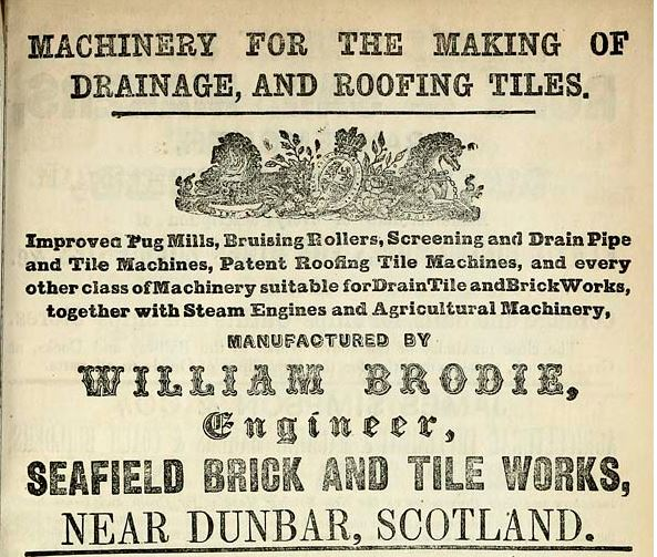1861 advert william brodie seafield brickworks dunbar