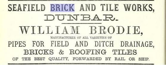 1878 advert William Brodie, Seafield Brickworks, Dunbar