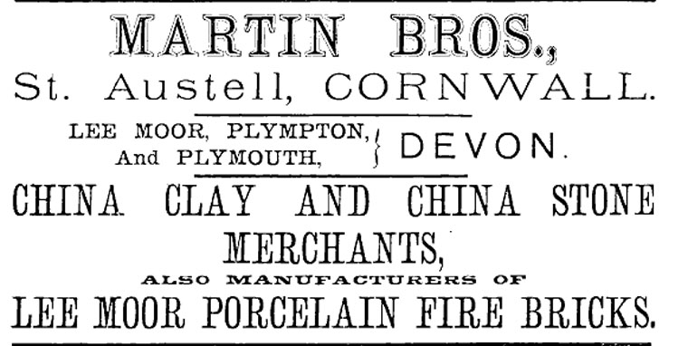 1882 advert for Martin Bros