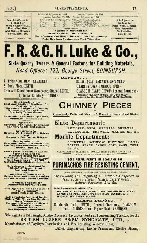 1899 advert Luke & Co
