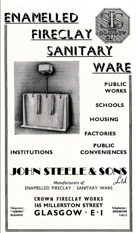 1947 Advert John Steele & Sons, Crown Fireclay Works, 165 Millerston Street, Glasgow