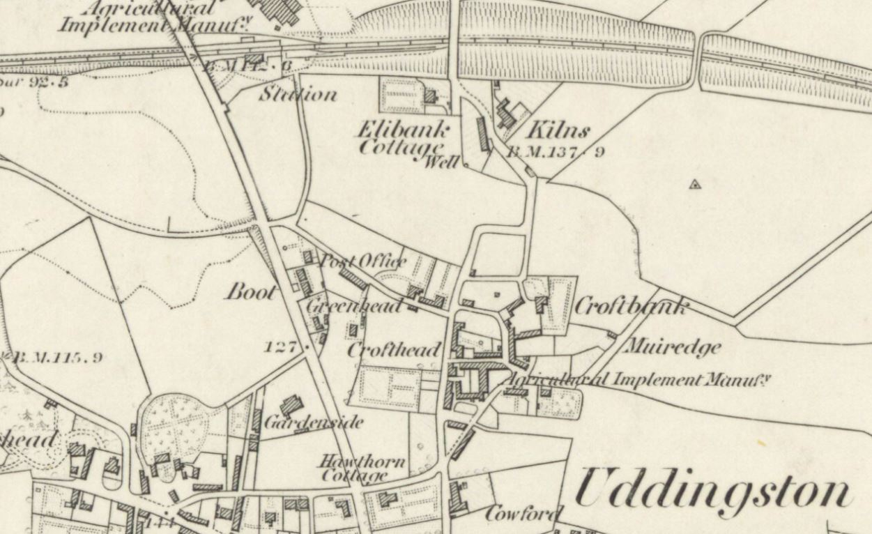 Below - OS Map 1859 - Kilns Uddingston - brickworks.
