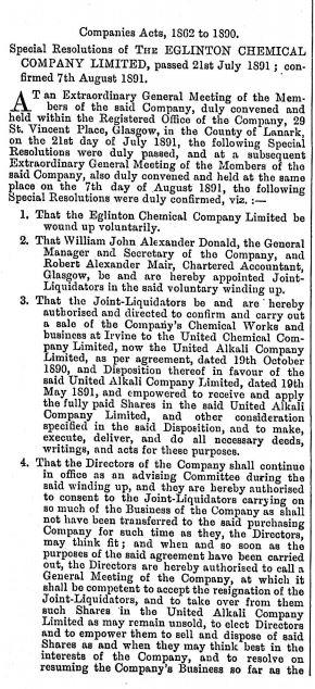 Edinburgh Gazette 1891 - Eglinton Chemical Co Ltd