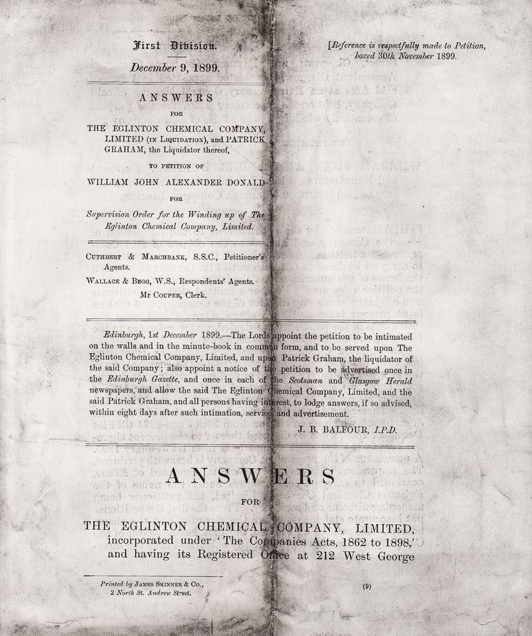 Eglinton Chemical Company 09 - 12 - 1899