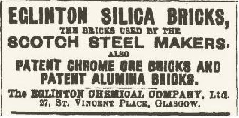 Eglinton Silica bricks made by Eglinton Chemical works for the Scotch Steel Makers
