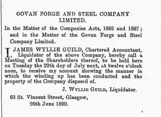 Govan Forge and Steel - Edinburgh Gazette 27-06-1890