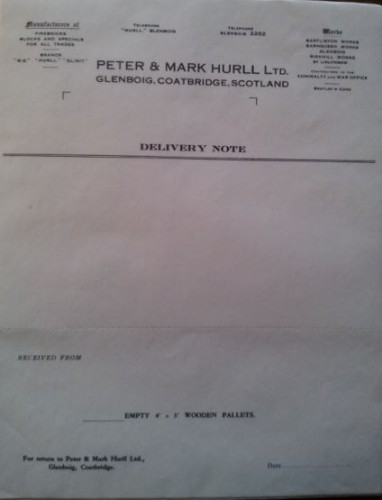 Mark and Peter Hurll Delivery Note