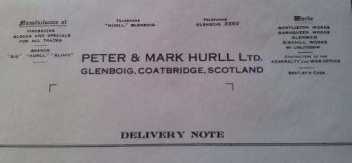 Mark and Peter Hurll Delivery Note.