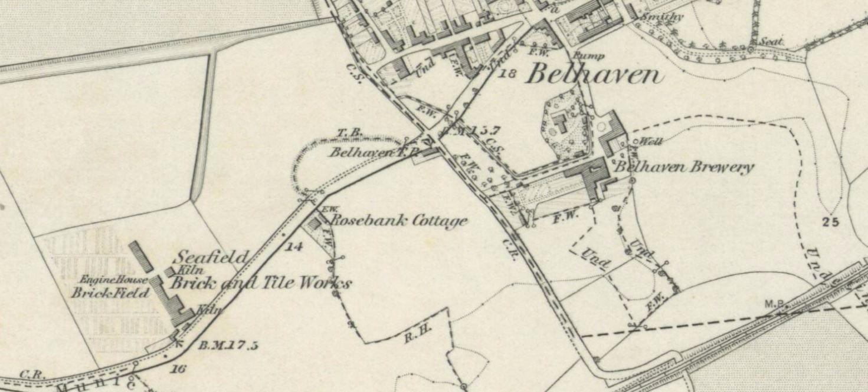OS Map 1853 - Seafield brickworks Dunbar