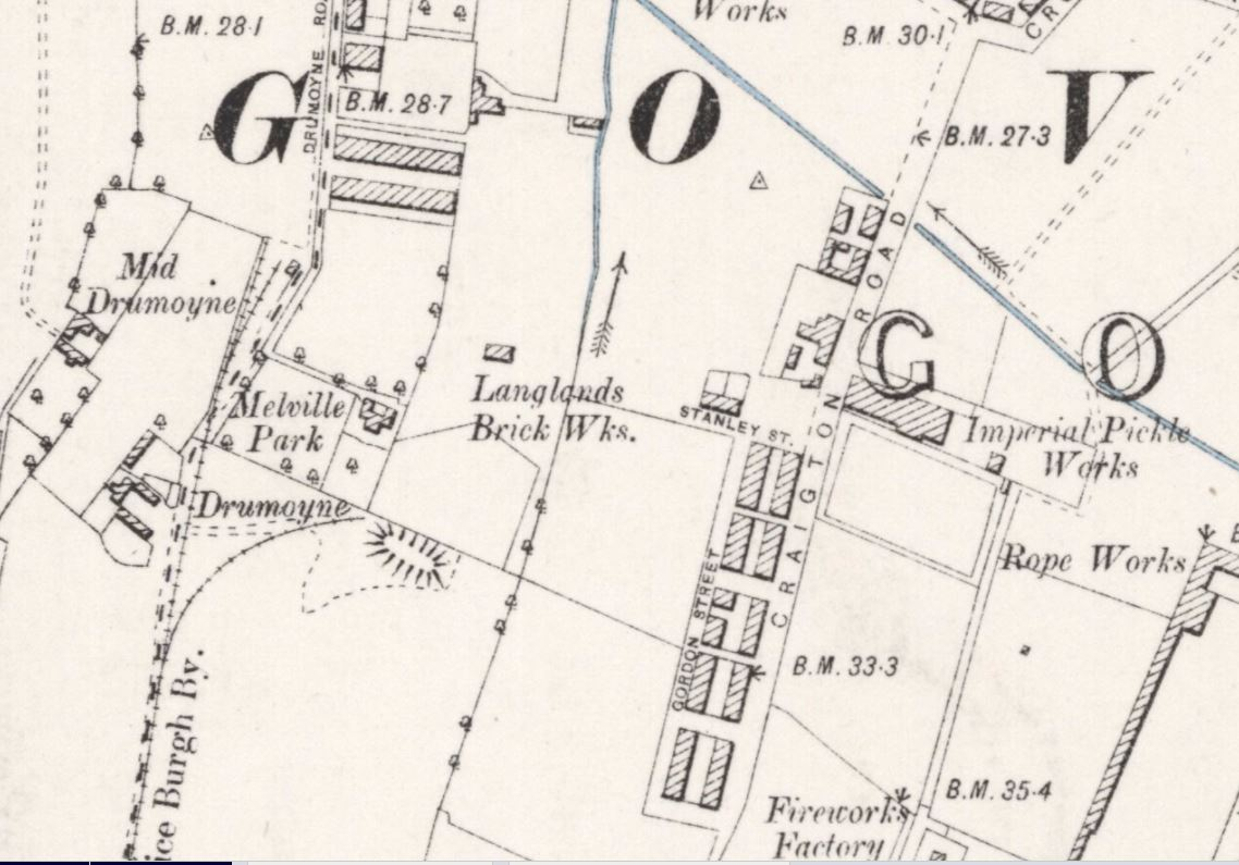 OS Map 1894 - Langlands Brick Works, Govan