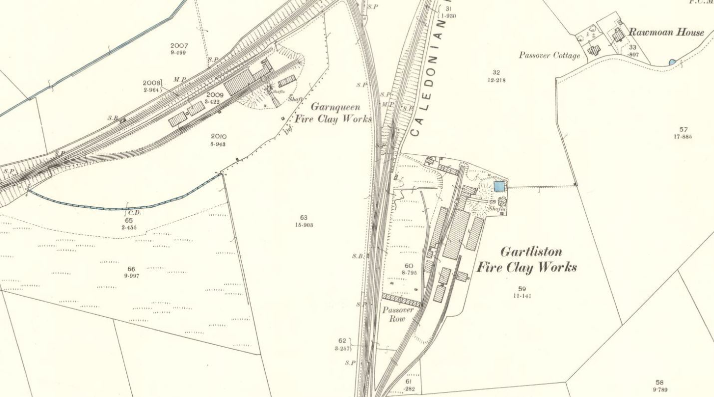 OS Map 1896 - Gartliston and Garnqueen Brickworks, Glenboig