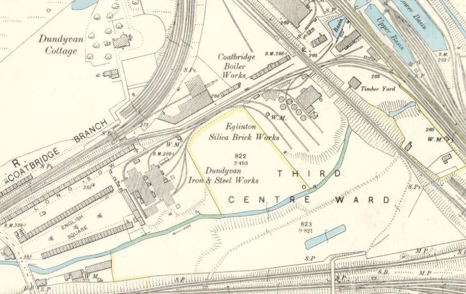OS Map 1898 Eglinton Silica Brick Works, Dundyvan