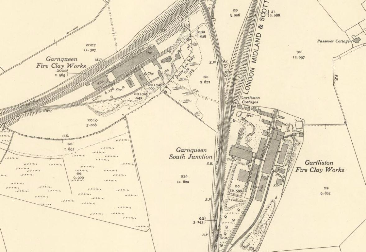 OS Map 1935 - 1936 - Gartliston and Garnqueen Brickworks, Glenboig