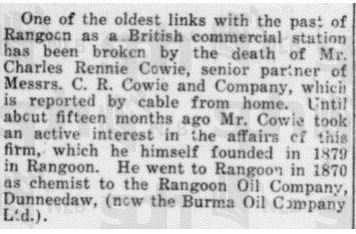 death of Charles Rennie Cowie