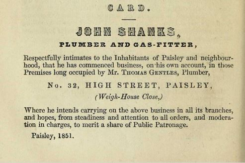 1851 - John Shanks High Street Paisley