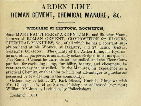 1851 advert - Arden Lime Darnley Works