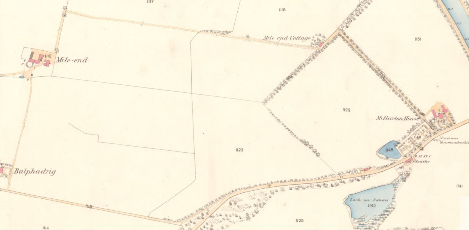1868 OS Map - Mile End Farm, Inverness