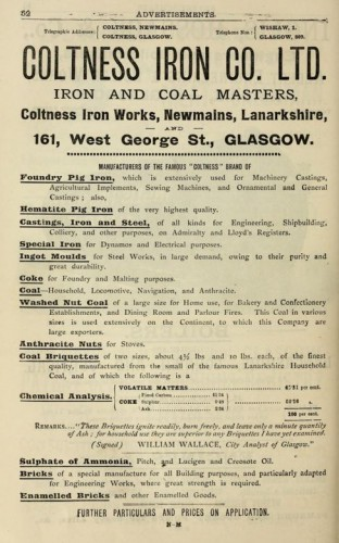1893 advert Coltness Iron Company