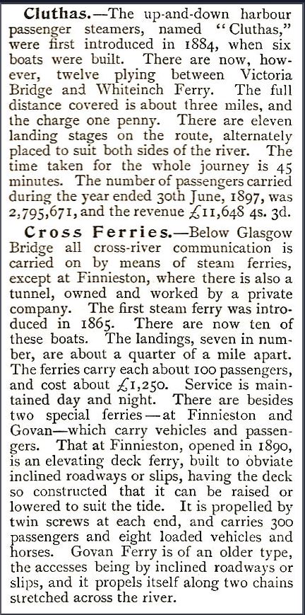 1899 media article of th eClutha Ferries, River Clyde, Glasgow