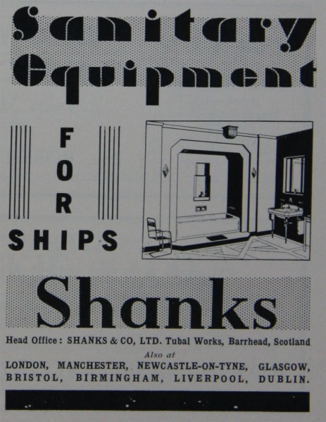 1932 - Shanks sanitary ware for ships