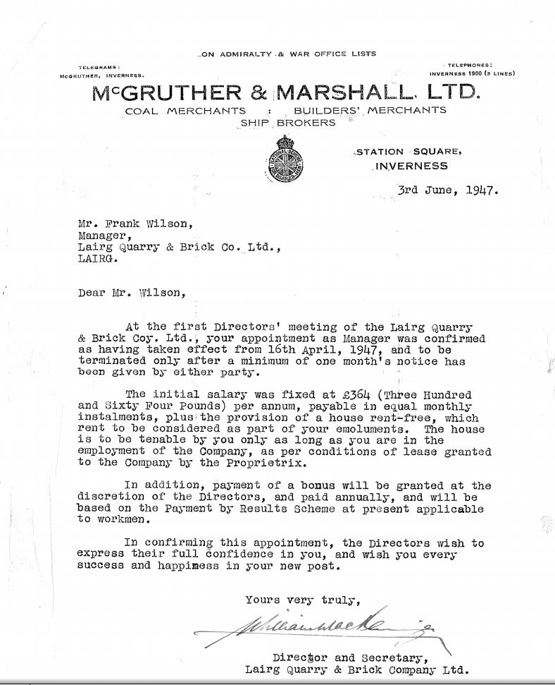 1947 letter from Lairg Quarry and Brick Company re managers post