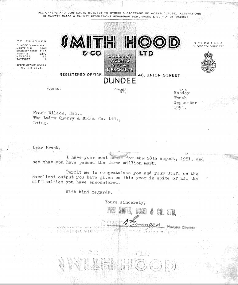 1951 letter from Smith and Hood congratulating Lairg brickworks on manufacturing 3 million bricks.