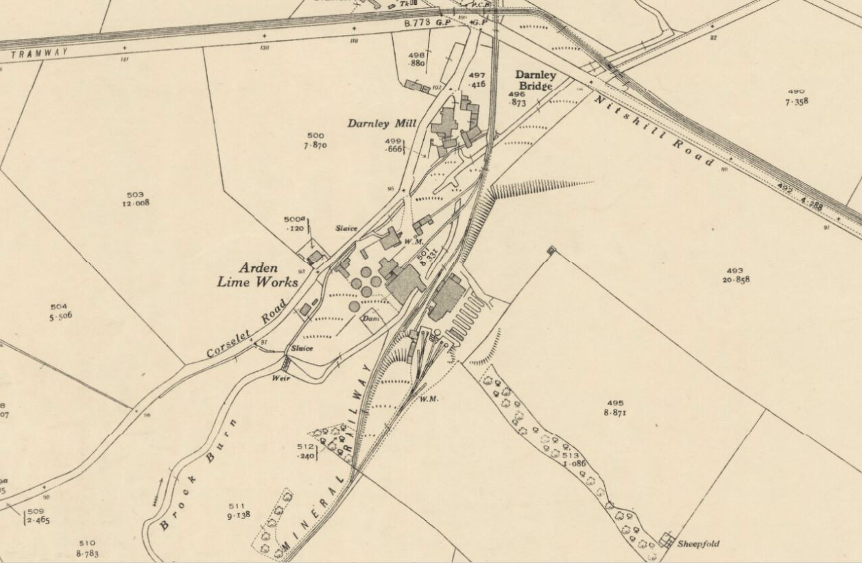 Below - 1839 OS Map Arden Lime Works , Glasgow