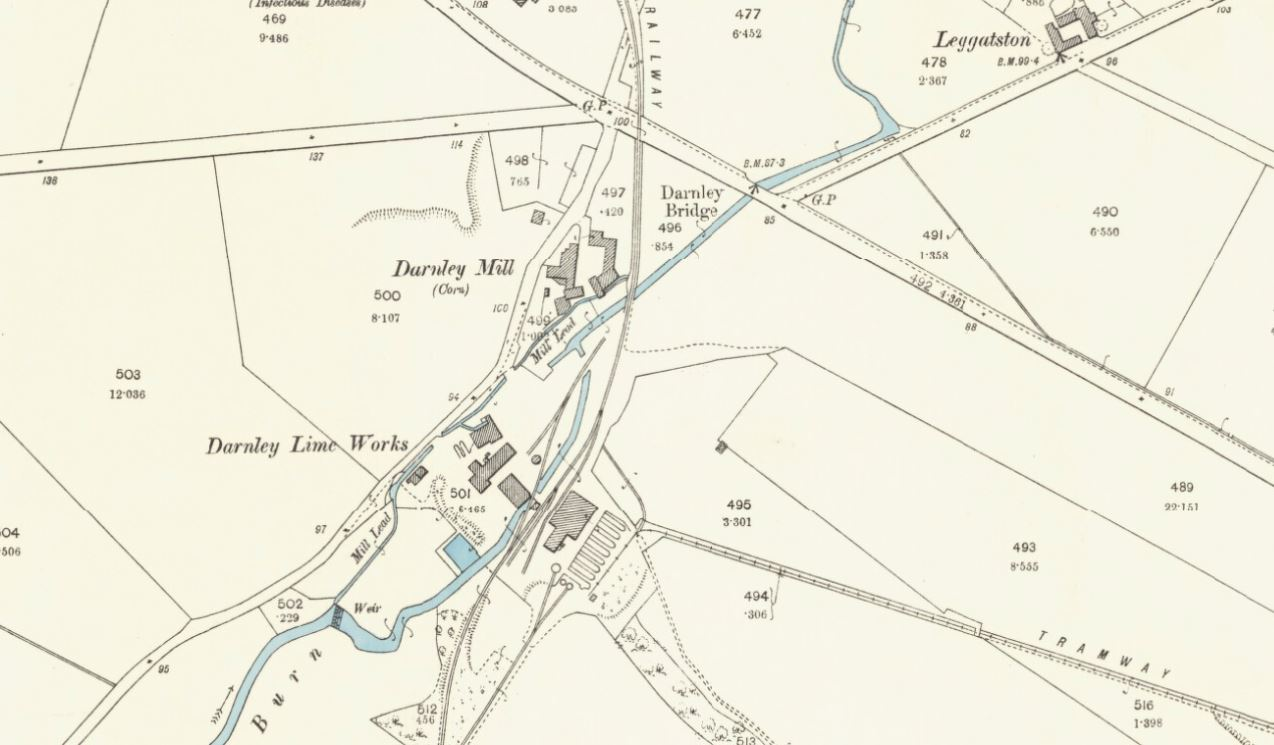 Below - 1896 OS Map Darley Lime Works , Glasgow