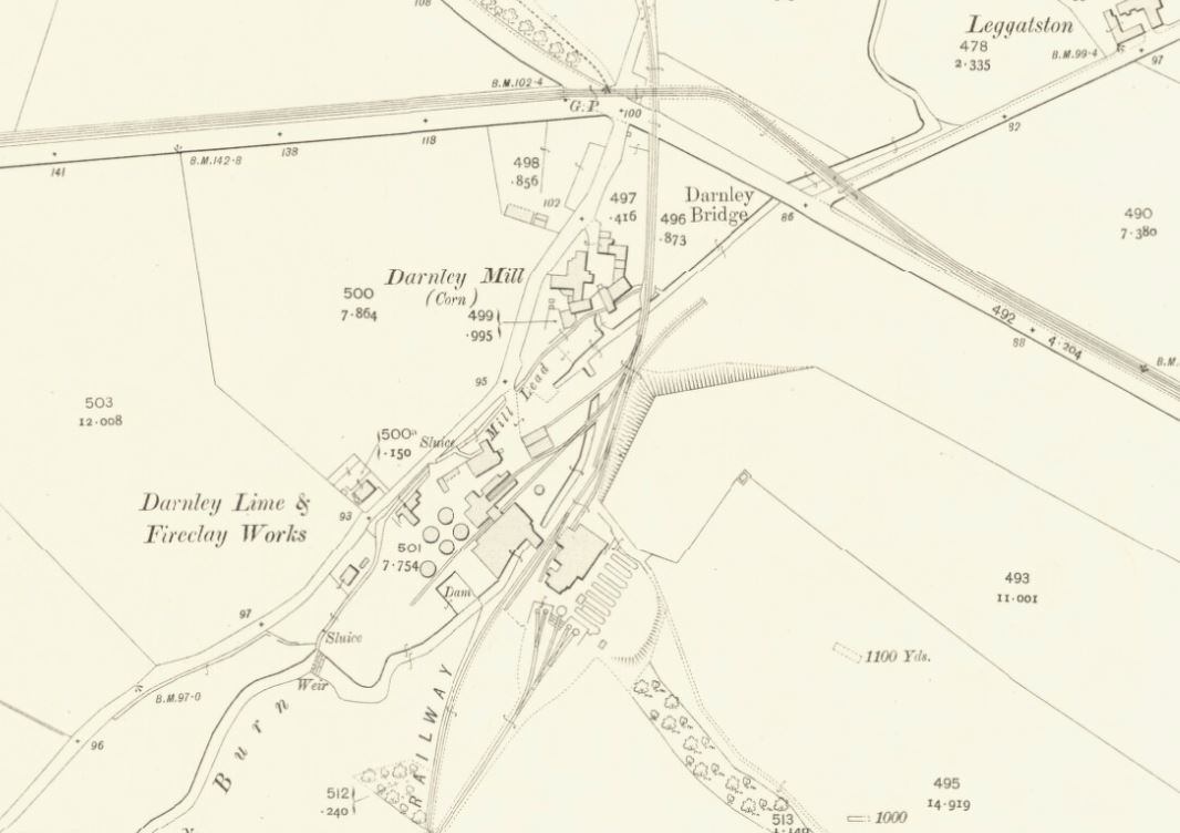 Below - 1910 OS Map Darley Fireclay Works , Glasgow