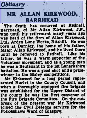 Below - Glasgow Herald 14-08 -1944 - obituary Allan Kirkwood