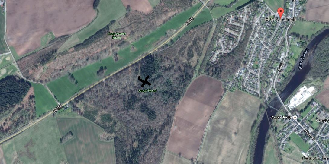 Below - Google map showing Broad Wood , Maryburgh where it is thought Ussie Brick and Tile Works were previously situated.