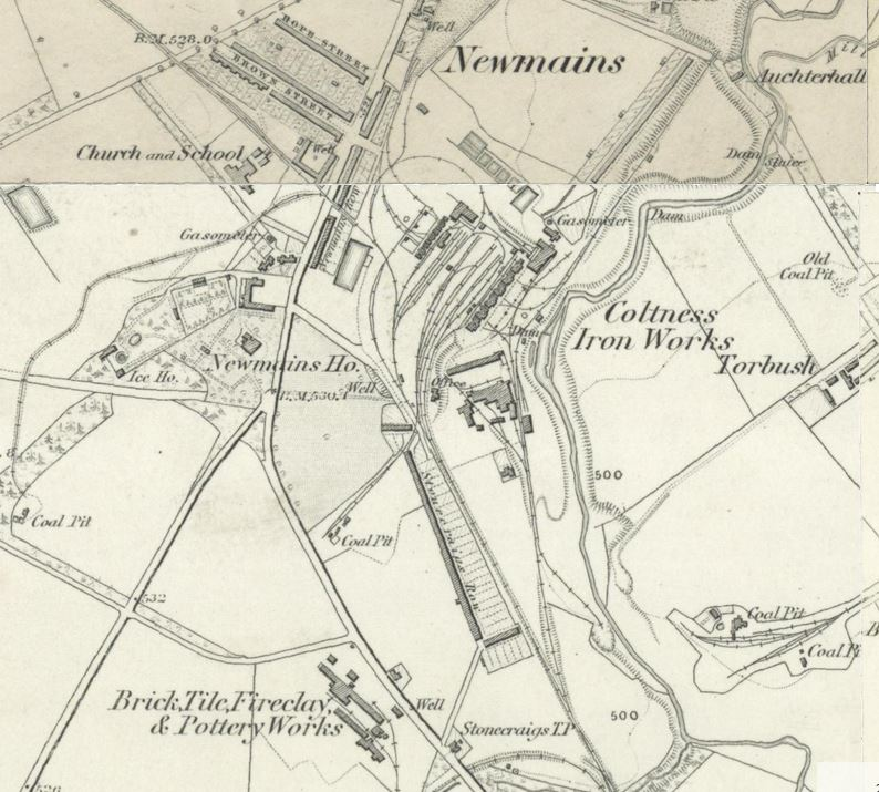 Below - OS Map 1859 - Newmains Brick, Tile Fireclay and Pottery Works - Coltness
