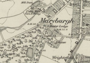 Below - OS Map 1873 - showing the site of Ussie brickworks as indicated by the curling pond  - waterlogged claypit