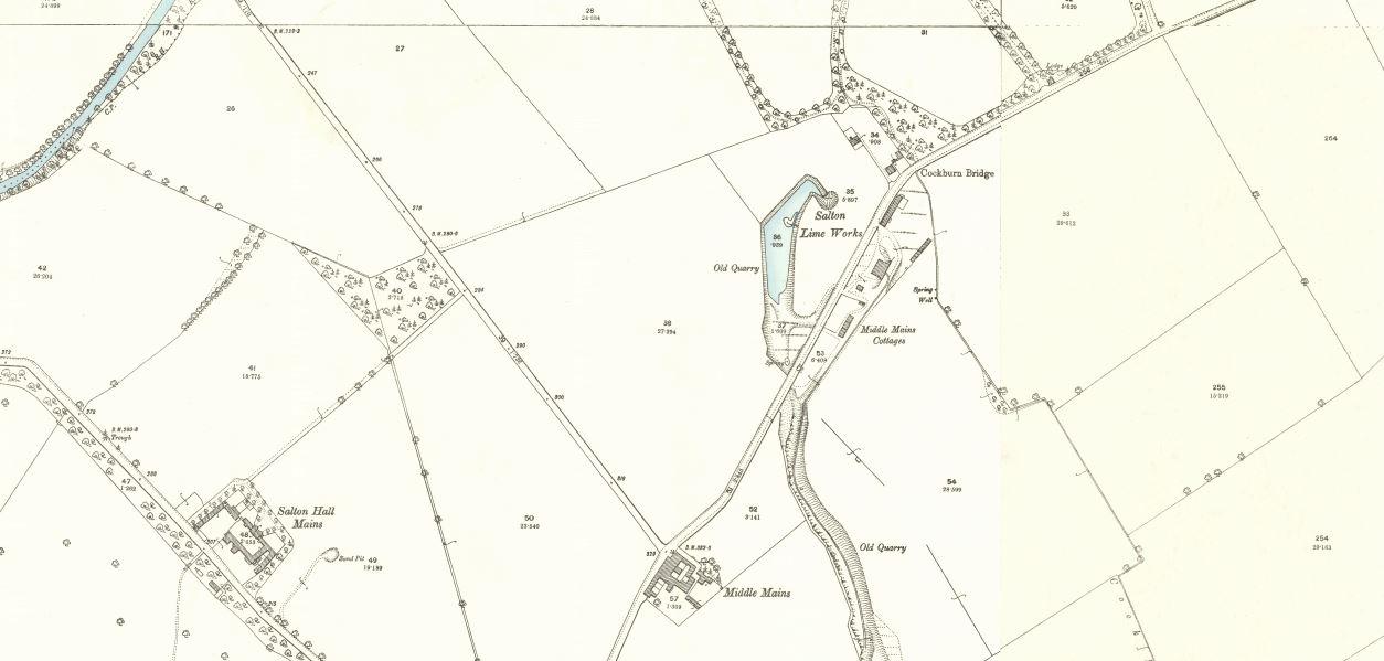 Below - OS Map 1892 - Salton Lime Works