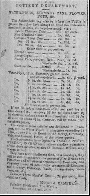 Culloden tile works price list etc