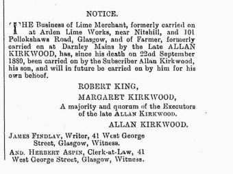 Edinburgh Gazette 1892 - Allan Kirkwood - Lime merchant