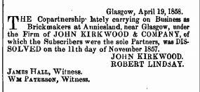 Edinburgh Gazette 23-04-1858 Kirkwood brickmaker Anniesland