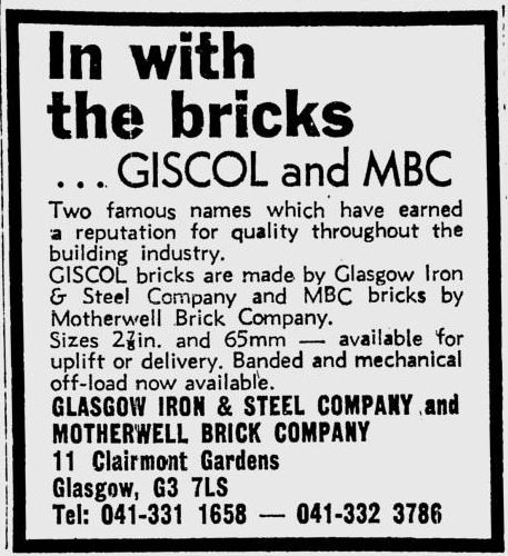 GISCOL and MBC Motherwell brick advert