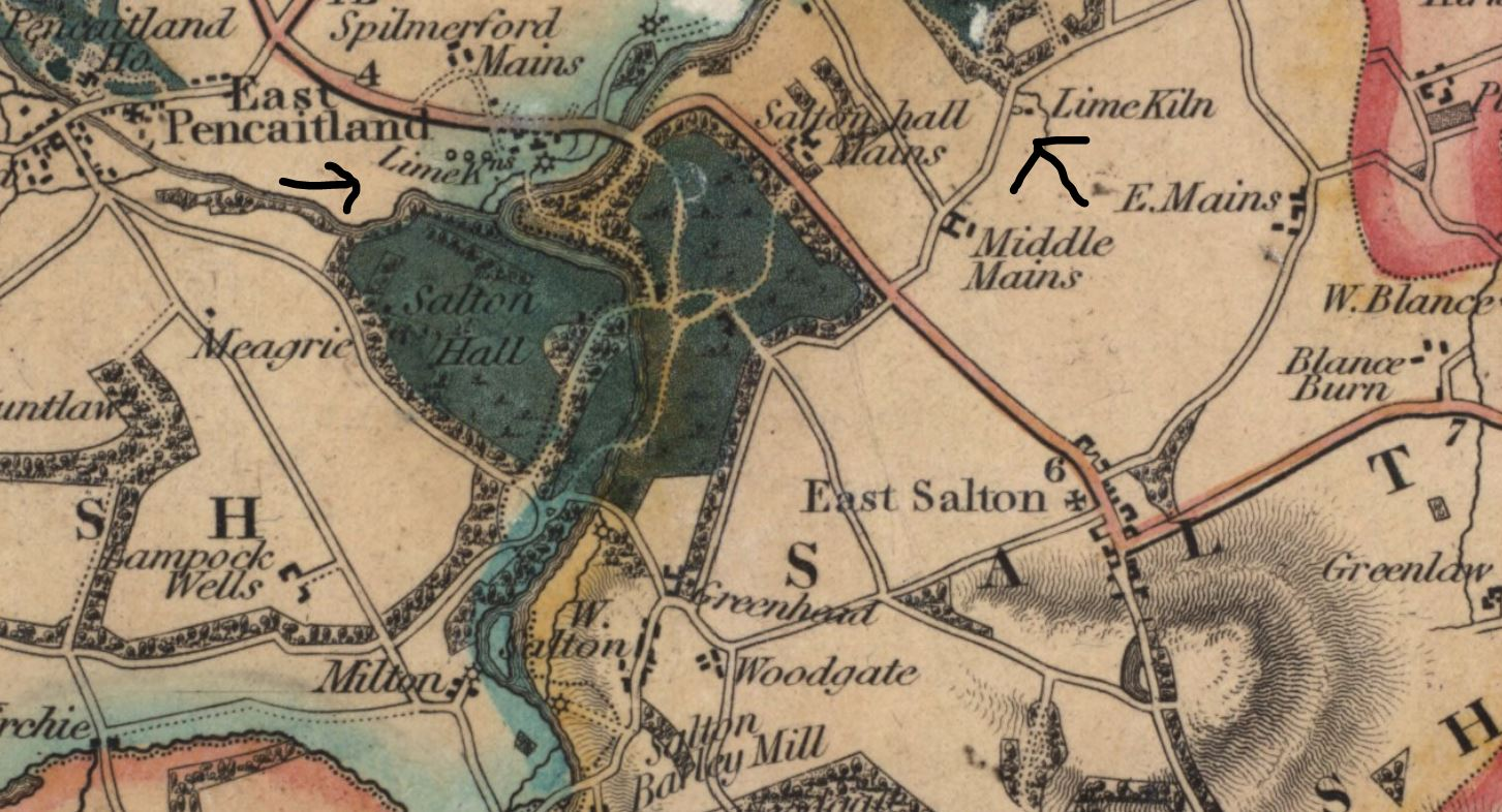 Map - Surveyed 1824 - 1825 Salton Hall, East Lothian