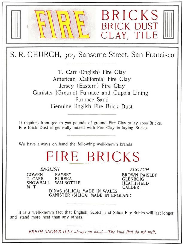 S R Church advert - Scottish fire bricks