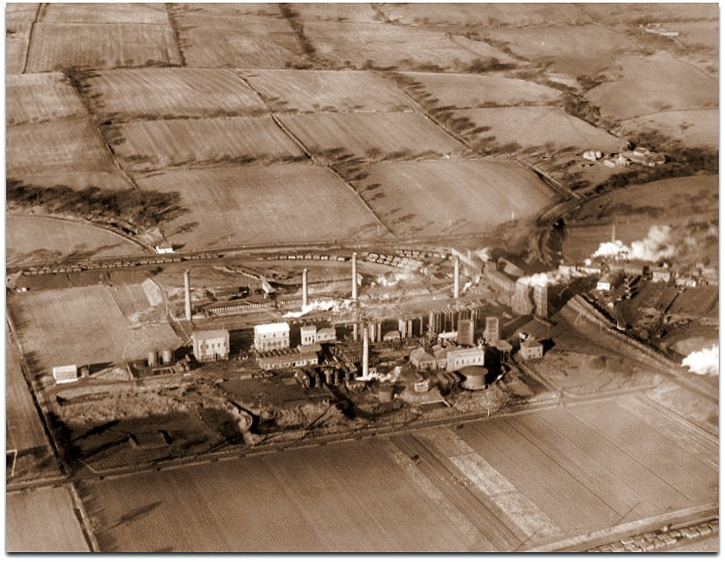 William Baird and Co. Dumbreck Colliery and Coke Ovens, Queenzieburn, Kilsyth. Oblique aerial photograph taken facing north.