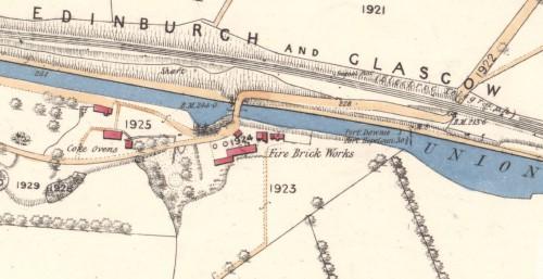 Below - 1860 OS Map Falkirk Fire Brick Works