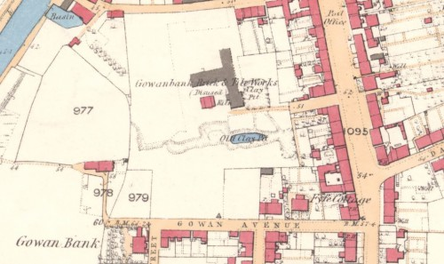Below - 1860 OS Map - Gowanbank Brick and Tile Works, Grahamston, Falkirk