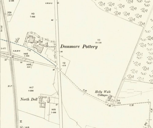 Below - 1895 OS Map Dunmore Pottery