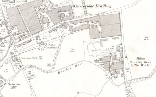 Below - OS Map - 1900 Hilton Brickworks, Alloa