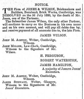 Jones Wilson Burnbank Brickworks dissolved1880
