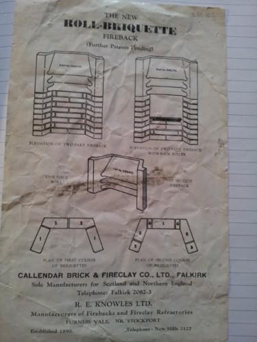 Callendar roll briquette fireback
