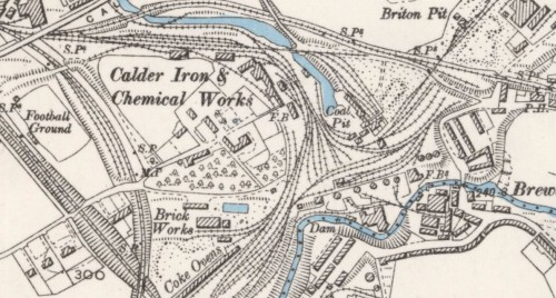 Below - 1897 OS Map Calder Iron Brickwork